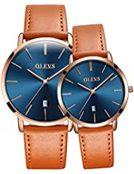 OLEVS His and Hers Couples Quartz Watch,Business Casual Fashion Analog Wrist Watch Classic Calendar Date Window...