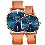 OLEVS Orange Leather Strap Ultrathin Waterproof Quartz Couple Watch with Calendar, Blue Dail, Couple Gift