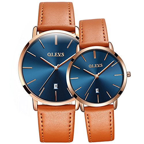 OLEVS 2 Pcs His and Hers Couples Watches, Minimalist Ultra Thin Watches Analog Quartz Date Watch Waterproof, Slim Simple Big Face Dial Dress Wrist Watch with Genuine Leather Band for Men Women