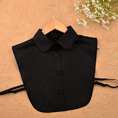 Chemisier Faux shirt Blouse Demi Femme Dtachable Col Noir Collier Chouette Dickey nRqx68w