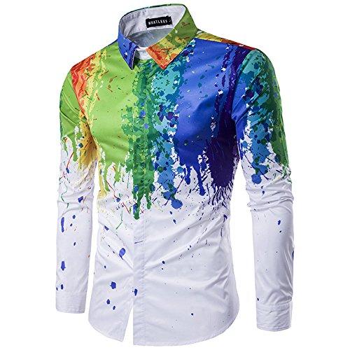 MAYUAN520 Shirts New Korean Style Splashed Paint Design 3D Print Men Dress Shirt Slim Fit Male Long Sleeve Shirts chemise homme Plus Size M-3XL,Picture Color,Asian Size 3XL