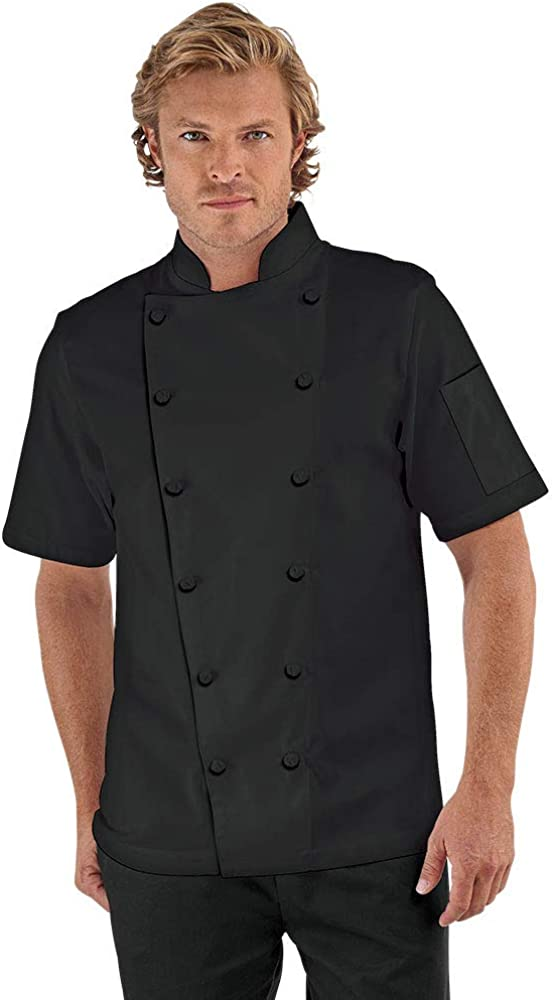 Men's Traditional Chef Coat with Knotted Cloth Buttons (XS-3X, 3 Colors)