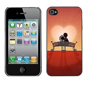 FECELL CITY // Duro Aluminio Pegatina PC Caso decorativo Funda Carcasa de Protección para Apple Iphone 4 / 4S // Love Couple Sweet Sunset Romantic