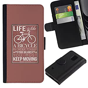 KingStore / Leather Etui en cuir / Samsung Galaxy S5 V SM-G900 / Affiche Hipster Keep Moving