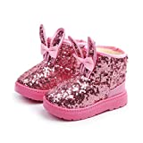 Warm Kids Baby Girl Winter Shoes Rabbit Ear Blings Sequins Snow Boots Soft Sole Anti-slip Sneaker Toddler Outdoor Walking Shoes (Age:9Years, Pink)
