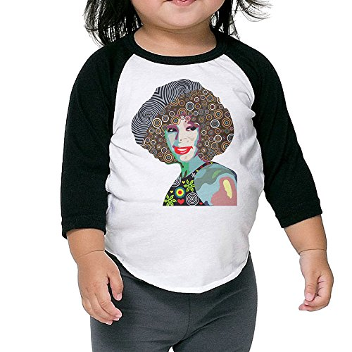 Whitney Houston Pop Art Child 3/4 Sleeve Plain Raglan Shirts Tee ()