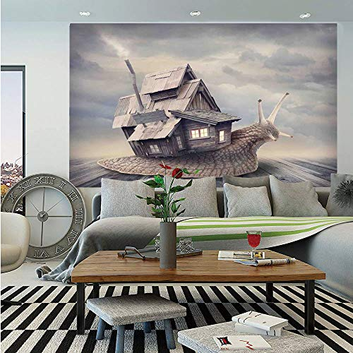 Fantasy House Decor Wall Mural,Snail with a Shell House Moving on Wooden Board Under Dramatic Cloudy Sky,Self-Adhesive Large Wallpaper for Home Decor 55x78 inches,Gray Beige