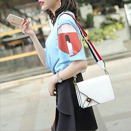 Handbag El Nuevo Paquete Retro Cuadrado de Cadena de Cerradura Personalizada, Bolso de Hombro Coreano, Bolsa de Mensajero Salvaje, Bolsos. A+ (Color : Red) Blanco