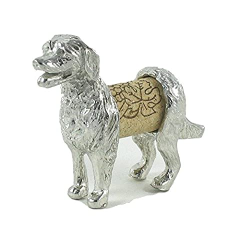 Retriever Dog Sculpture - Changeable Wine Cork Display Gift Boxed - Handcrafted Pewter Made in USA - Red Usa Merlot