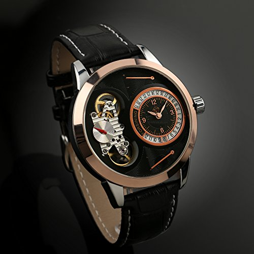 Black Mechanical Self-winding Mens Watch Skeleton Tourbillon Rose Gold ()