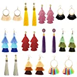 11 Pairs Tassel Earrings for Women Colorful Long Layered Thread Ball Dangle Earrings Yellow Red Fashion Jewelry Valentine Birthday Gifts Christmas: more info