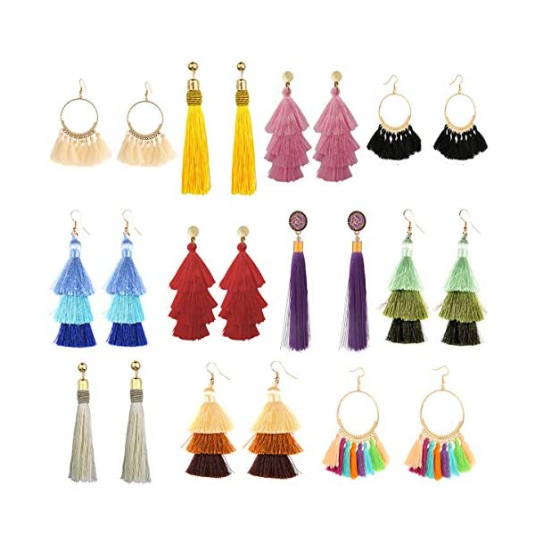 Kerrian Online Fashions 513C9VpWhEL 11 Pairs Tassel Earrings for Women Colorful Long Layered Thread Ball Dangle Earrings Yellow Red Fashion Jewelry Valentine Birthday Gifts Christmas