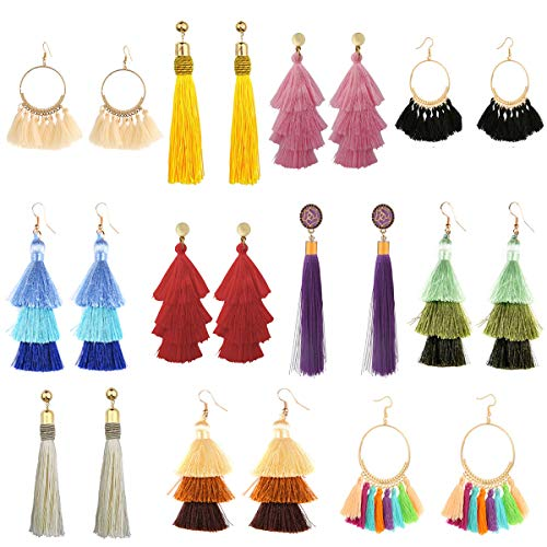 11 Pairs Tassel Earrings for Wom...