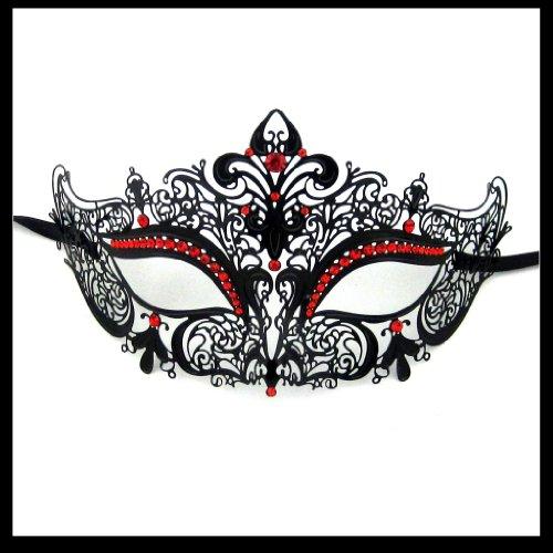 Luxury Mask Women's Laser Cut Metal Venetian Crown Mask, Black/Red Stones, One -
