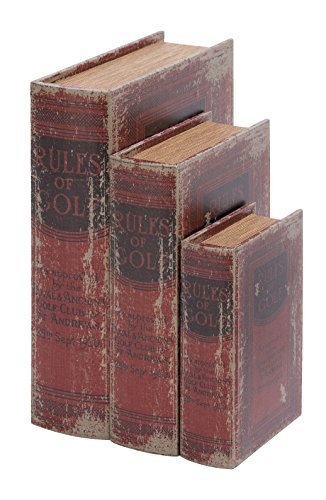 Deco 79 Faux Book Box Set with The Rules of Golf Theme