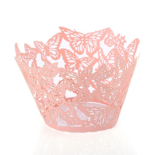 50Pcs/Lot Lovely Butterfly Paper Cups Lace Laser Cut Cupcake Paper Wrappers Wedding Baking Cup Cake Liners Round DIY Baking Fondant Muffin Molds -