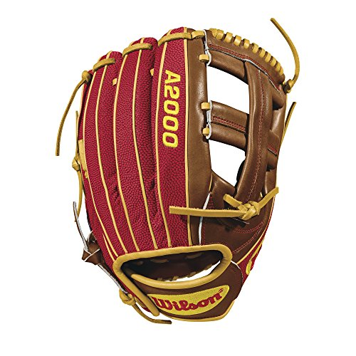 Wilson 2018 A2000 DP15 GM Infield Gloves - Right Hand Throw Red/Saddle Tan/Yellow Gold, 11.75