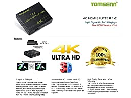 Hdmi Splitter 1x2 (1 In 2 Out) Amplified Powered Splitter Signal Distributor Support Full 2Kx4K 1080P 3D