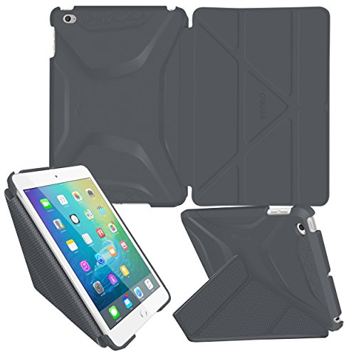 iPad Mini 4 Case, roocase Origami 3D iPad Mini 4 Slim Shell Case Smart Cover with Sleep / Wake [Features Landscape, Portrait, Typing Stand] for Apple iPad Mini 4 2015, Space Gray