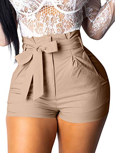 GOBLES Womens Summer Casual Shorts High Waist Ruffle Bow Tie Shorts Camel