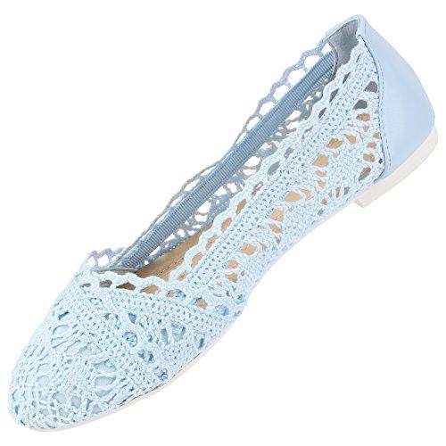 Stiefelparadies Damen Ballerinas Slipper Flache Schuhe Spitze Häkeloptik Feminine Slip-Ons Stoffschuhe Strass Metallic Flandell Hellblau Weiss