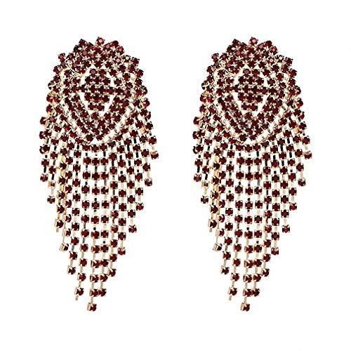 Crystal Beads Earrings Women Ethnic Jewelry Handmade Elegant Big Long Beads Earrings Hot Pink