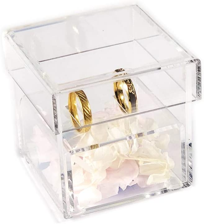 Clear Aila Acrylic Clear Ring Holder Crystal Jewelry Ring Box for Gifts Wedding Without Flowers