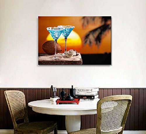 Two Blue Cocktail on Beach at Sunset Wall Decor