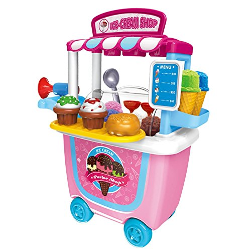 OWIKAR Simulation Ice Cream Cart Toy, Pretend Toy Set Playset Role Play Toy Kit with Carrying Case for All Boys and (Colonial Baby Spoon)