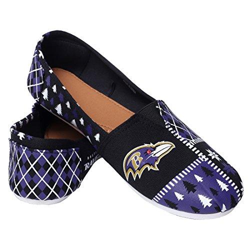 Zapatillas De Lona Antideslizantes De Lona Para Mujer De Fútbol De La Nfl - Elige Al Equipo Baltimore Ravens