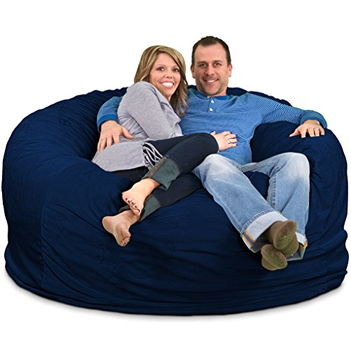 Bag Footstool Bean (ULTIMATE SACK Bean Bag Chairs in multiple Sizes and Colors: Giant Foam-Filled Furniture - Machine Washable Covers, Double Stitched Seams, Durable Inner Liner. (6000, Navy Suede))