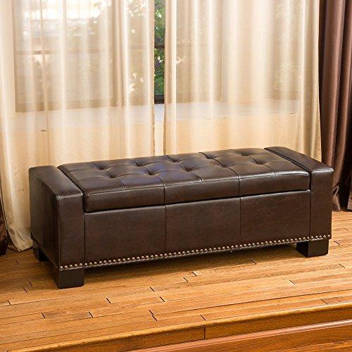 Luciano Leather Storage Ottoman - Nailhead Storage