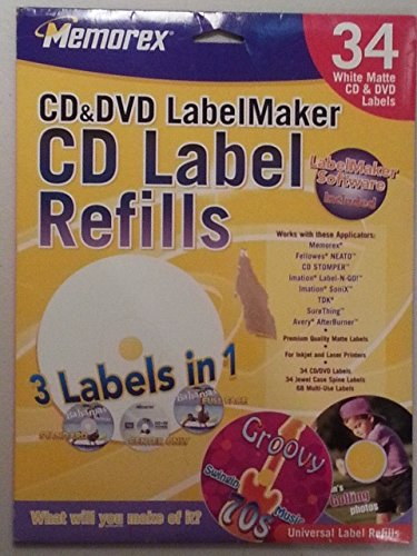 Memorex, CD&DVD LabelMaker, 34 White Matte Labels (Cd Memorex White Label Matte)