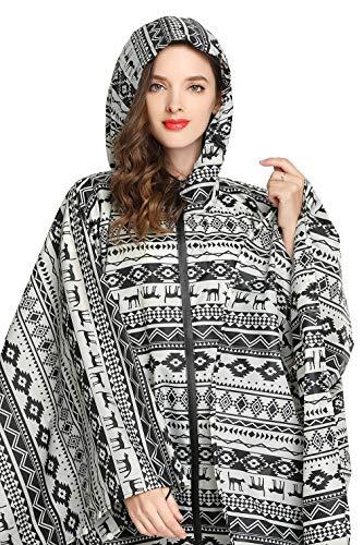 Women Rain Poncho Stylish Polyester Waterproof Raincoat Free Size with Hood Zipper Styles (Black Dog)