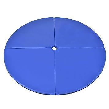 VLFit de Piel sintética Plegable Pole Dancing colchoneta de Entrenamiento de Seguridad 5cm de Grosor, Azul - 150cm x 150cm x 5cm