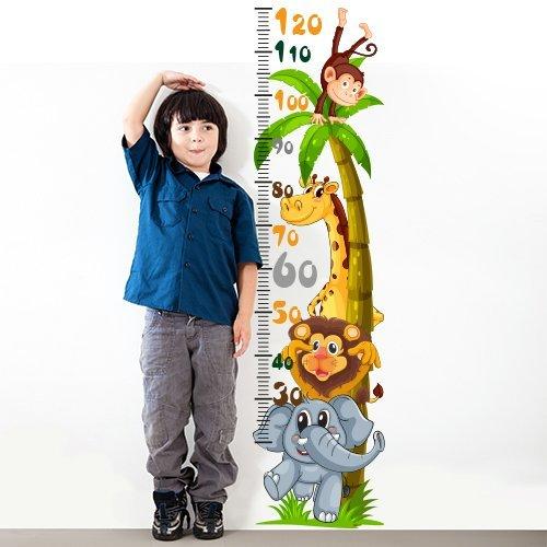 wall art nbsp; Adesivo da muro per bambini graduato con motivo amici animali, 30x 120x 0,1cm, Multicolore, R00219 Adesivi Murali