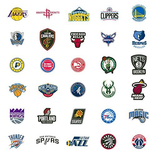 40 NBA Stickers Basketball Team Logo Set. All 30 Teams. Plus 10 More. Die Cut. Lakers Bulls Heat Warriors Celtics Cavaliers Thunder Spurs Knicks Mavericks Clippers Rockets Pacers Nets Magic Pelicans (Nets Water Bottle)