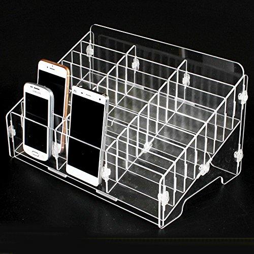 Ozzptuu Transparent Acrylic 24-Grid Storage Compartments Multifunctional Storage Box for Cell Phones Holder Desktop Supplies Organizer
