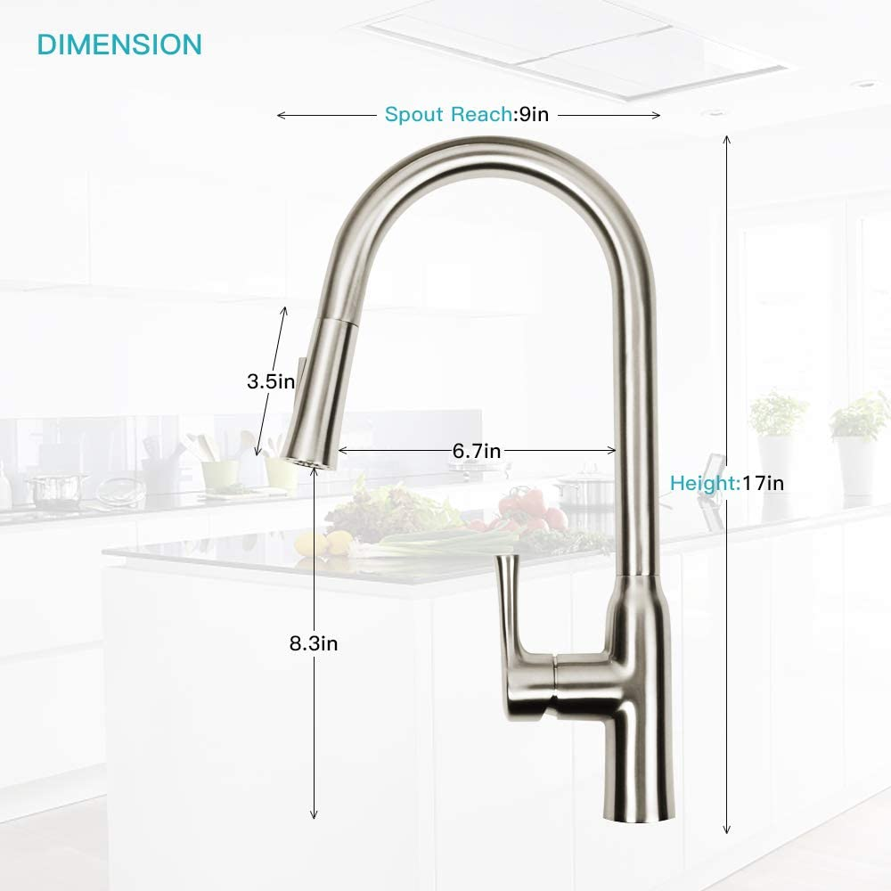 Sunba Youth Single Handle Sprayer Brushed Nickel Pull Out Kitchen Sink Sweep Spray Faucet