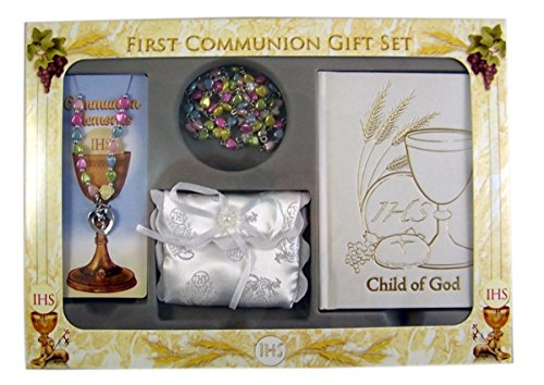 First Communion Gift Set Girls with Multi-Color Heart Bead Rosary, Bracelet, and Prayer Book