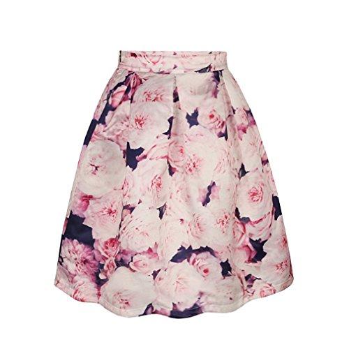 ZIOOER Women's Elastic Waistband Digital Print Flared Pleated Casual Skirt Flowers