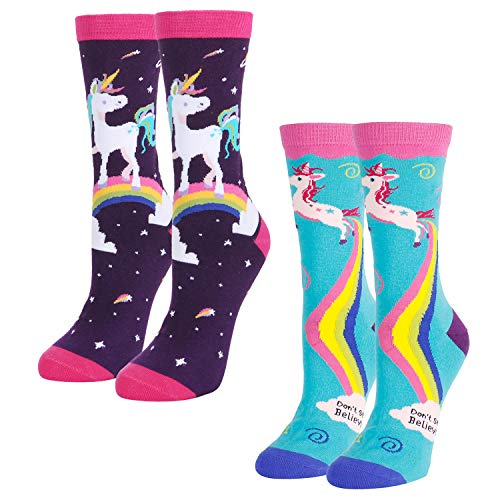 Women Girls Novelty Funny Crew Socks Crazy Colorful Rainbow Unicorn Socks, 2 Pack with Gift Socks ()