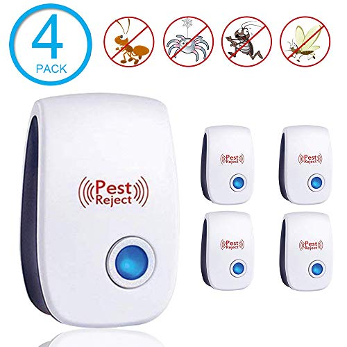 Electronic Ultrasonic Pest Repeller,Pest Controller for Pest Reject,Pest Repellent Indoor Plug in,Pest Defender Getting Rid of Spider Mice Mosquito Rats Roaches Cockroaches Rodent Insect(4 Packs)