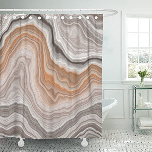 Emvency Shower Curtain Green Agate Wide Onyx Slice Beige Stone Gem Marble Waterproof Polyester Fabric 60 x 72 inches Set with Hooks