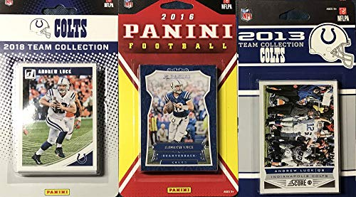 Indianapolis Colts 3 Factory Sealed Team Set Gift Lot Including 2018 Donruss, 2016 Panini and 2013 Score Team Sets Featuring Peyton Manning, Andrew Luck, Darius Leonard Rookie Card plus