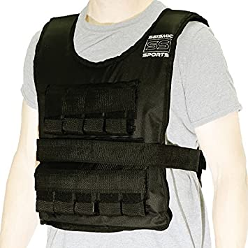 Seismic Sports – SS80VBK – Adjustable Weighted Vest 80 lb Black for Crossfit, HIIT, Strength, Cross Training and Cardio Exercise