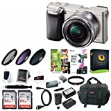 Sony Alpha a6000 Mirrorless Camera w/16-50mm Lens & Two 64GB SD Card Bundle (Silver)