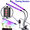 Dual-lamp Grow Light Aotson 36LEDs Adjustable 3 Modes Timer(3H/6H/12H) Dimmable 4 Levels Grow Lamp Lights Bulbs with Flexible 360 Degree Gooseneck for Indoor Plants Hydroponics Greenhouse Gardening