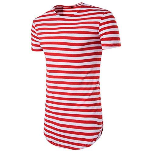 Stripe Button Hipster (Kool Classic Men's Hipster Hip Hop Stripe Longline T-Shirt Red Tag L /US 36)