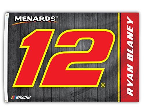 Nascar Red Number - Ryan Blaney #12 Menards Nascar 3' x 5' One Sided Car Flag with Number
